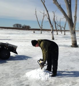 Ice fishing on Diamond Lake