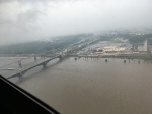 View of Mississippi river from Gateway Arch in St. Louis, Missouri