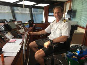 Captain Buzz cruising Lake Ozark, Missouri